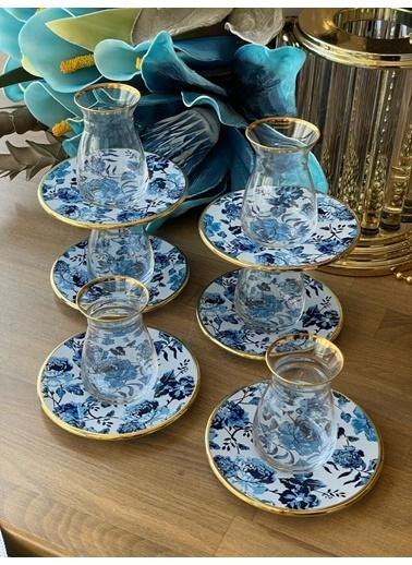 Glore Çay Takımı Lila 12 Parça 6 Kişilik Renkli